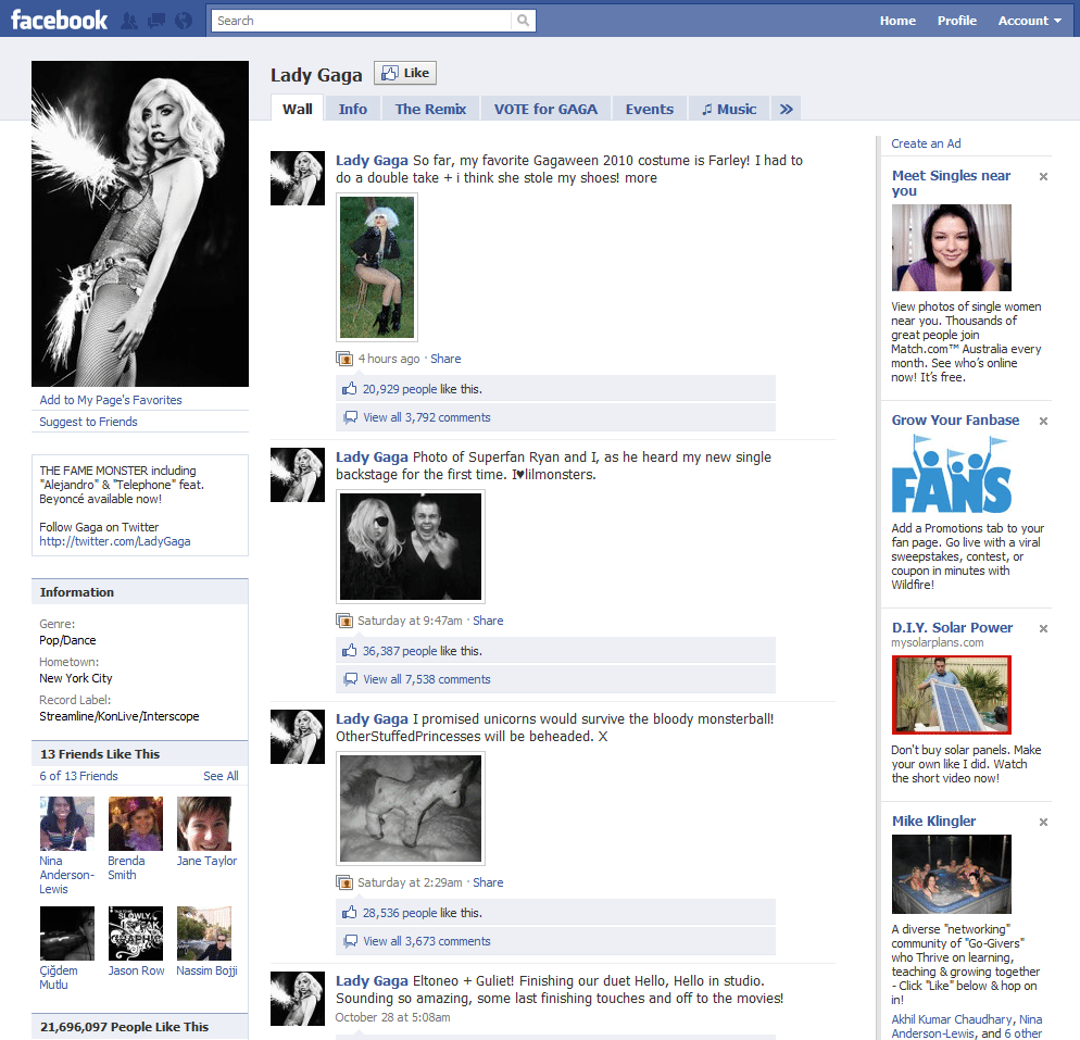 Facebook Page 4 Lady Gaga