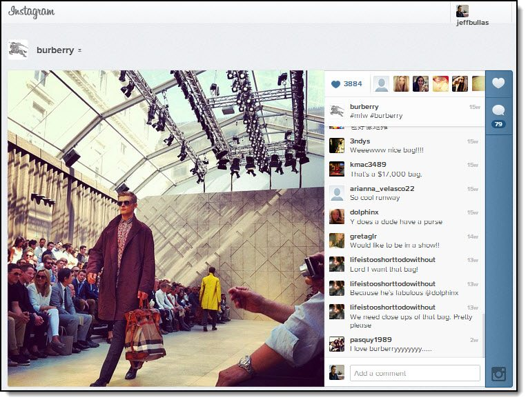 Burberry Instagram Fashion Marketing