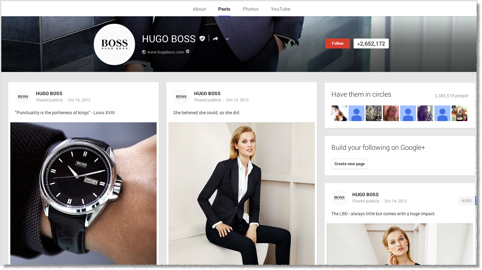 Hugo Boss Google+ page