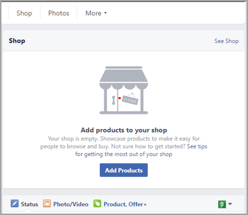 Shop store for Facebook pages