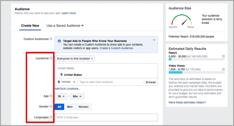 create your Facebook ad audience parameters