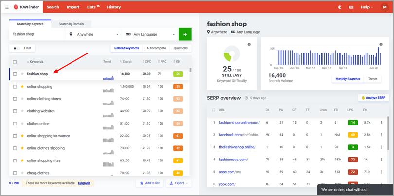 Outil de recherche de mots-clés -KWFinder- Marketing client