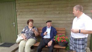 Mara and Vitauts on Jani's bench.
