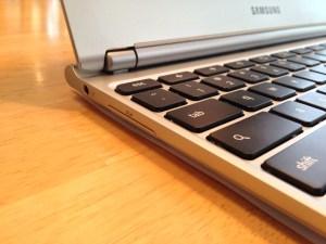 Samsung Chromebook SD Card Slot, Headphone Jack and Keyboard
