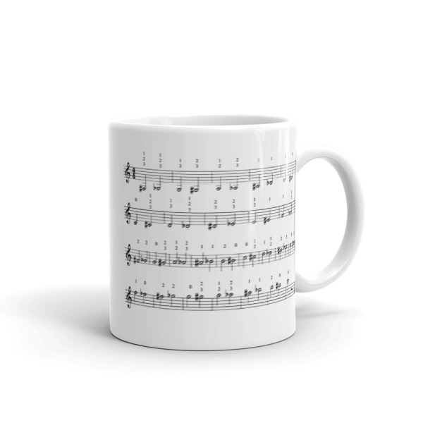 Trumpet Fingering Chart and Trumpet Player Mug