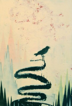 "Acrylic, enamel, oil stick and spray paint on panel. 47"" x 32"""