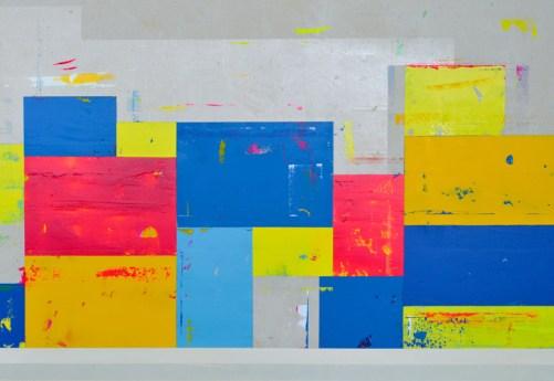 "Acrylic and latex on canvas 50"" x 92"""