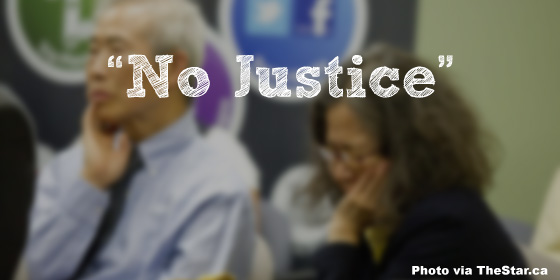 "Image from The Star with the text ""No Justice"" written over top"