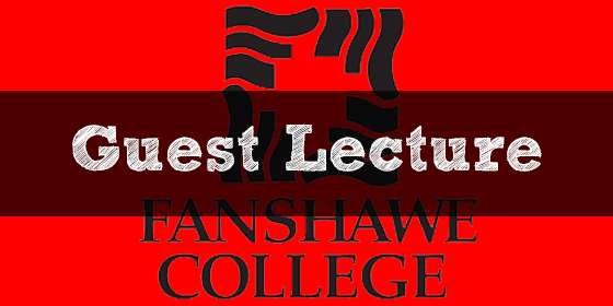"""Guest Lecture"" written above the Fanshawe College logo"