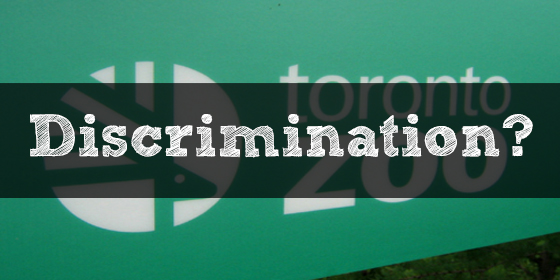 "Toronto Zoo logo with the text ""Discrimination?"" written over it"