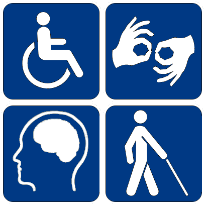 Blue accessibility symbols, including wheelchair, sign language, mental health and seeing