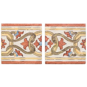 A red / green terra cotta border/listello alentejo pattern tile by Jeffrey Court.