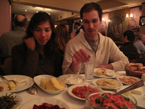 Steph and Kirk with our dinner the first night in Istanbul.