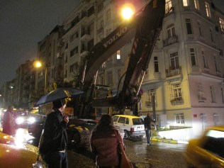 A backhoe coming down Kirk's street in Istanbul