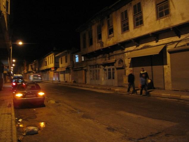 Walking at night in Antakya. THe street had a movie set like feeling from the yellow, flat streetlights.