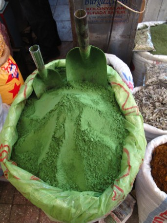 Green spices at the market in Antakya