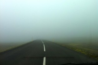 Driving through the fog to Seydisfjordur