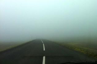 Driving through the fog to Seydisfjordur