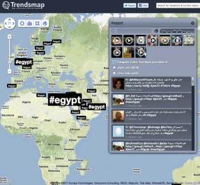 Trendsmap.com is a real-time mapping of Twitter trends across the world.