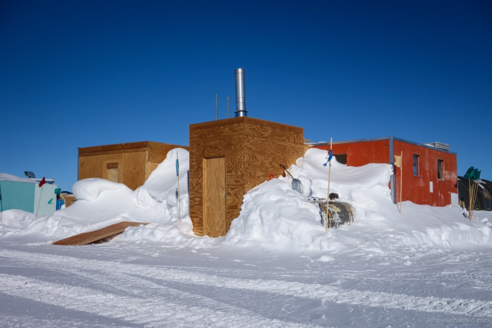 "The South Pole Climbing Wall is located in a random building about 400 meters away from the elevated station, in a zone called ""summer camp""."