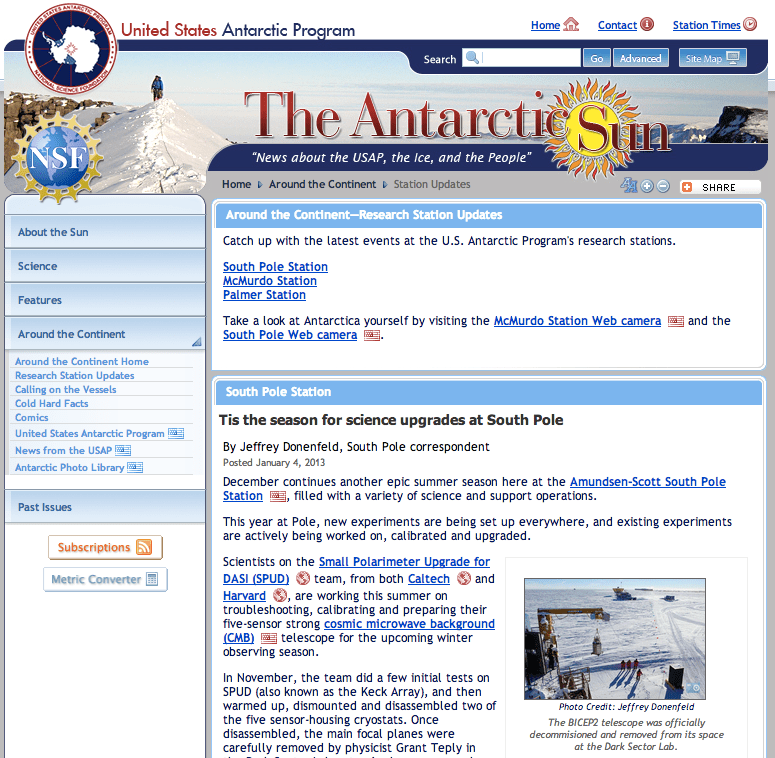 Antarctic Sun December 2012 Station News
