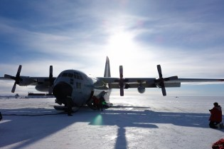"The LC-130 Hercules, which I flew from McMurdo Station to Amundsen-Scott South Pole Station. This plane is much smaller, and is one of only about 10 ""LC"" models equipped with both skiis and wheels for landing gear. The plane can take off on wheels from a traditional runway, and land on skis on an ice runway."