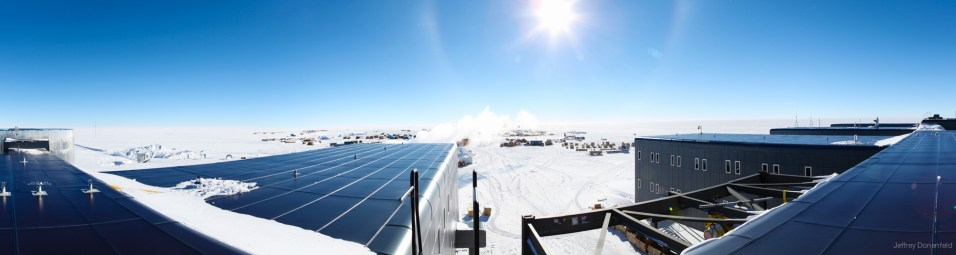 A view from the roof of the south pole station.