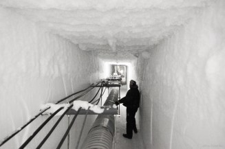 Inside the ice tunnels, which route water, sewage and electrical lines. 50 feet under the ice, the temperature here is a constant -60 degrees F.