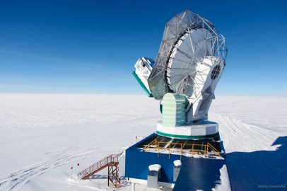 The South Pole Telescope, which is able to look at the Cosmic Microwave Background, a remanant of the Big Bang.