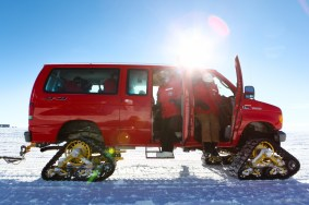 Vans are equipped with special tracks, for traction on the snow and ice.