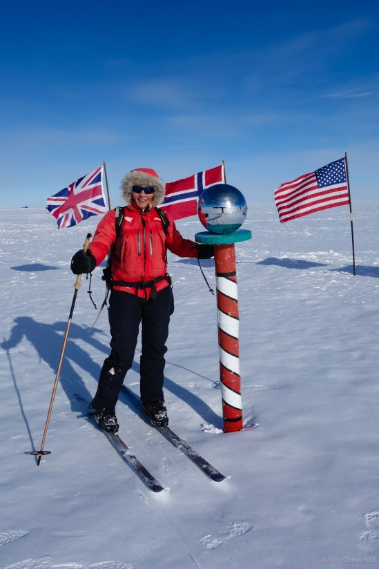 Skiier Vlborg Arna Gissurardóttir skied solo from the coast to the south pole, making her the first Icelandic woman to do so. I had the pleasure of greeting her at the pole, and guiding her on a brief tour of the station.