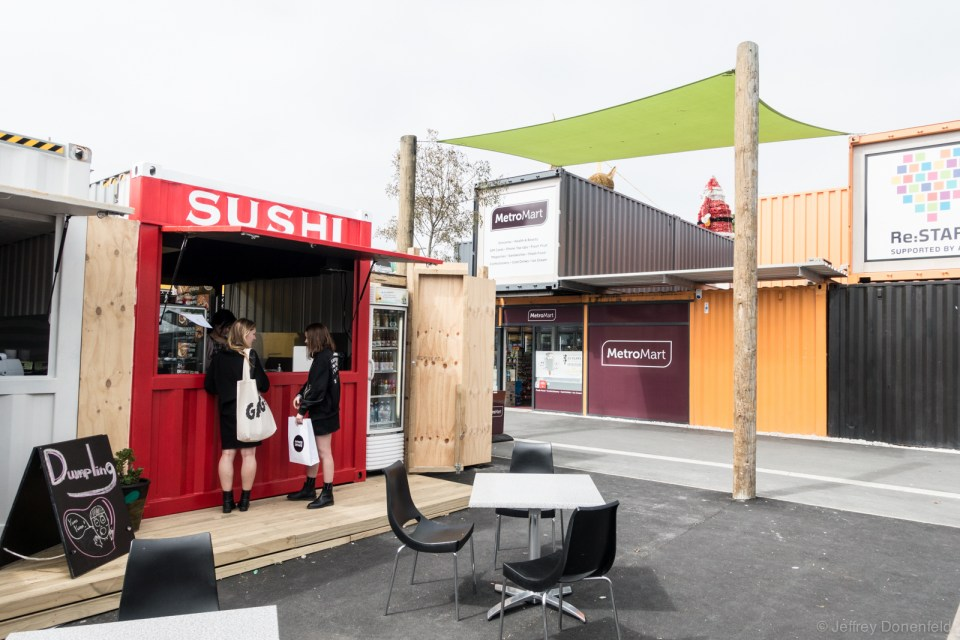 Christchurch started recovery from their recent earthquake quickly, including by building a mall out of shipping containers. It's actually pretty cool!