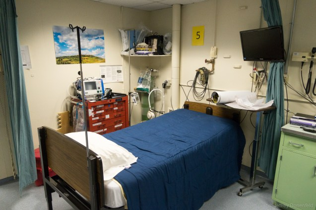 One of the ward beds - quite a complete setup!
