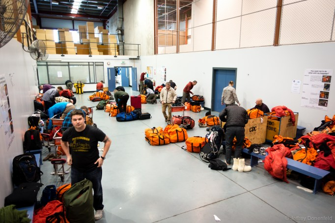 Organizing gear at the Clothing Distribution Center in Christchurch, NZ.