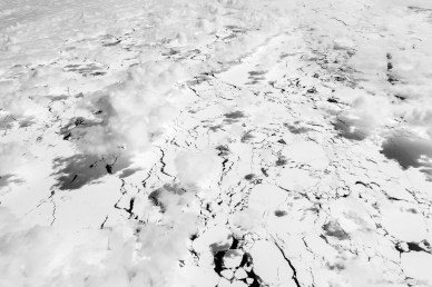 Passing over the seasonally frozen southern ocean, with cracks forming in mid-summer. The ice cover is absolutely beautiful, and takes on infinite forms.
