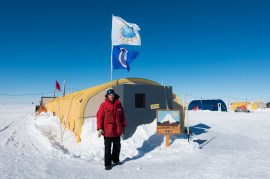 Me outside of the central Galley tent at the West Antarctic Ice Sheet (WAIS) Divide Field Camp.