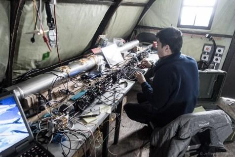 Merlin Mah tests his ice fabric logging instrument.