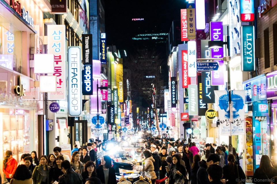 Lights and shopping everywhere. Never a dull moment in Seoul.