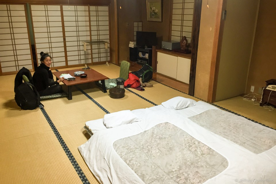 We stayed at a traditional Ryokan, and had a great tatami room to ourselves, complete with dining table, porch, futon mattresses, a private bathroom, and most importantly a karaoke machine! The room also came with robes, a key to our own private co-ed onsen, and a pair of keys to the legendary 9 public onsens for which Shibu Onsen is known.
