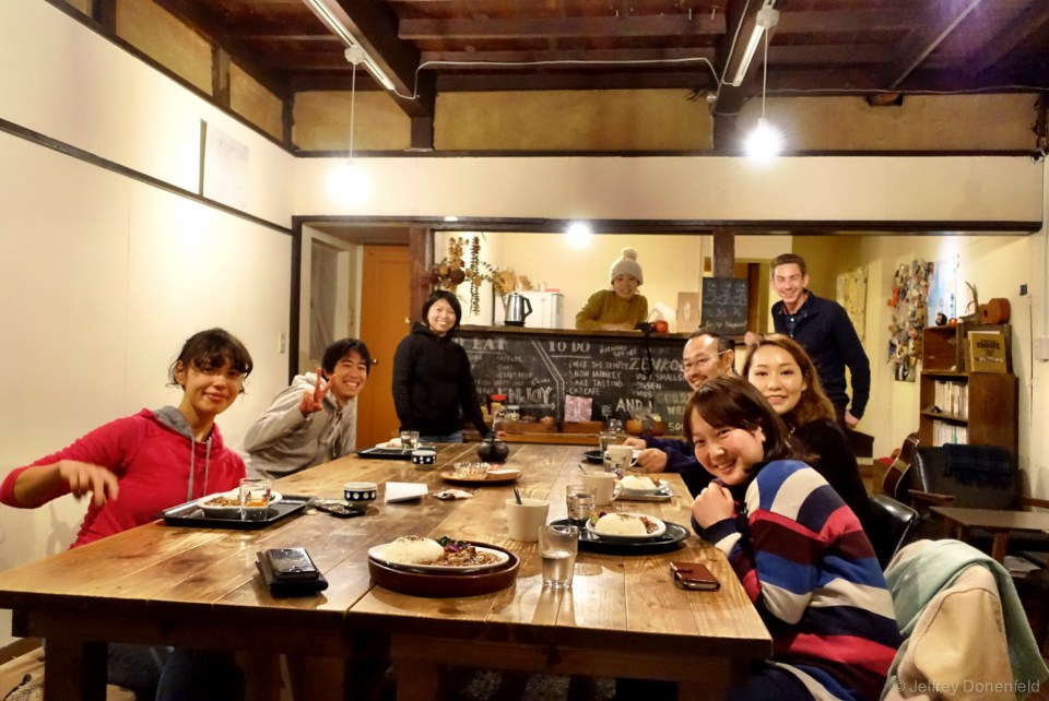 My wonderful group at the 1166 Backpackers hostel I stayed at in Nagano, Japan.