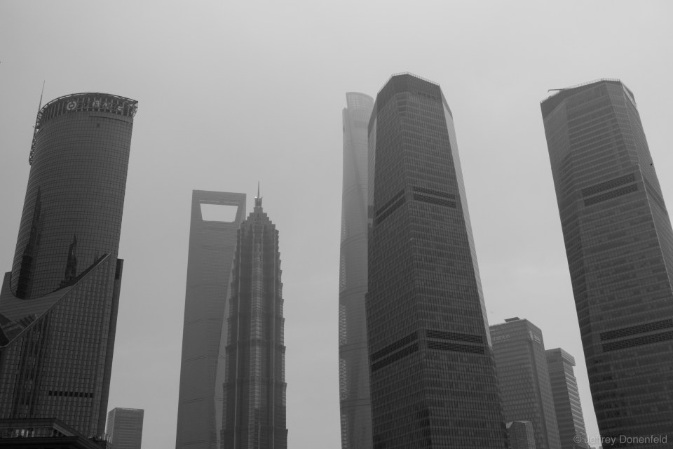 In the business center of Pudong, skyscrapers are huge, and being built as fast as possible. Looming in the back of this photo is the Shanghai tower, the tallest building in China and the second tallest in the world.