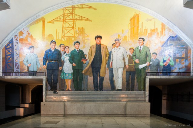 Each station has its fare share of epic mosaics, depicting the leaders in a variety of triumphant poses. This one of Kim Il Sung with common people was particularly grand.