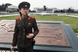 At the Pyongyang Victorious War Museum, I was led around by a well dressed tour woman, wearing a military-inspired uniform. She gave a tour to my entire group, including a walk through some relics from various wars, and of the US Navy Ship Pueblo.