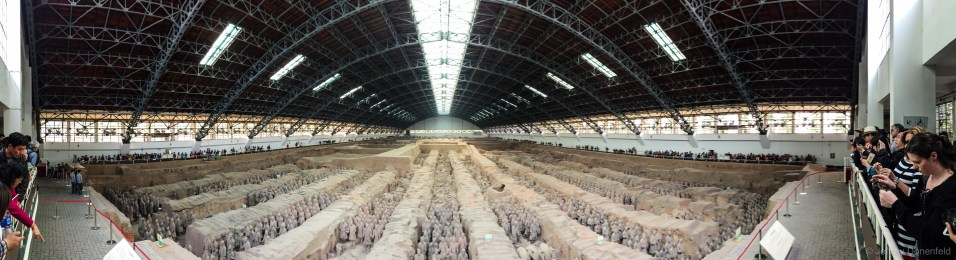 The main hall of Terracotta Warriors. There are actually three excavation sites, but this one was by far the most impressive. The entire site is ringed by a tourist walkway, with lots of photos being taken at all times.
