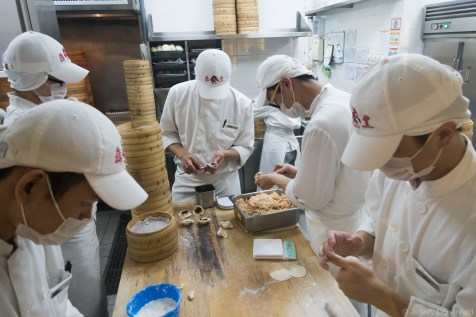 Dumplings and other dim sum being made fresh at Din Tai Fung Hong Kong.