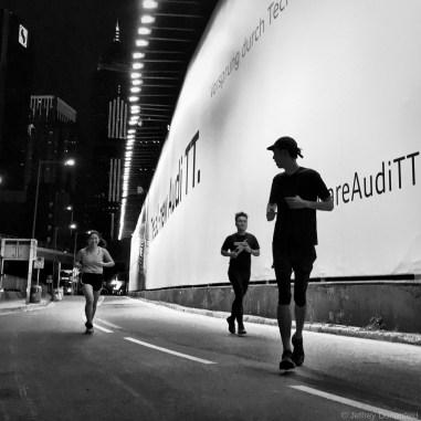Running at night in Hong Kong.
