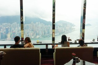 Cocktails at the Ritz Carlton, at the top of the IFC. The world's highest hotel.