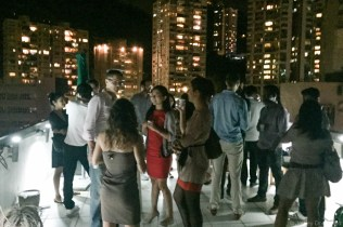 Rooftop parties with friends in the center of Hong Kong.