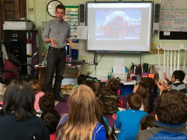 Jeffrey Donenfeld talks to third graders about Antarctica.