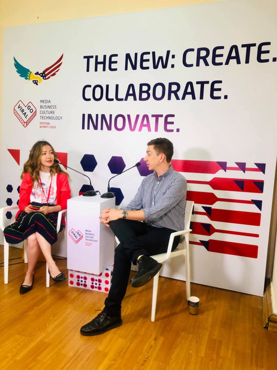 Jeffrey Donenfeld and Aliya Shaykina at GoViral Almaty Interview 3